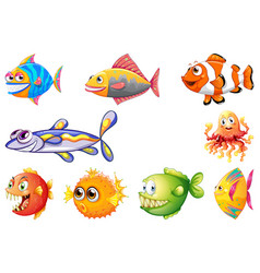 set different fish vector image
