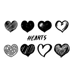 set hearts hand drawn isolated sketch on white vector image