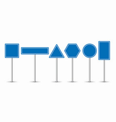set of blue road signs on white background vector image