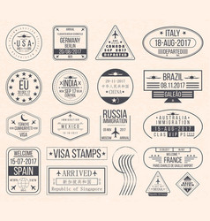 set of international visa stamps vintage travel vector image
