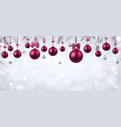 shiny banner with pink christmas balls vector image
