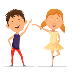 Small boy and little child girl dancing smiling vector