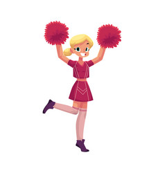 Smiling cheerleader dancing with pom-poms vector