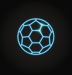 soccer ball icon in glowing neon style vector image