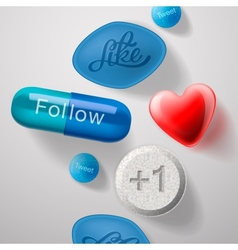 Social media addiction pills capsules isolated vector image