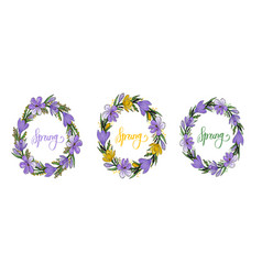 spring wreath with crocusesmimosa and lettering vector image