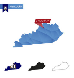 State kentucky blue low poly map with capital vector