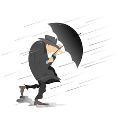 strong wind rain and man with hat and umbrella i vector image