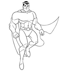 superhero flying and smiling line art vector image