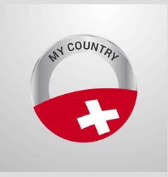 Switzerland my country flag badge vector