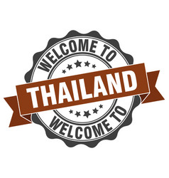 thailand round ribbon seal vector image