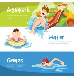 The cheerful boys rides on water hills vector