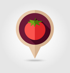 Tomato flat pin map icon vegetable vector