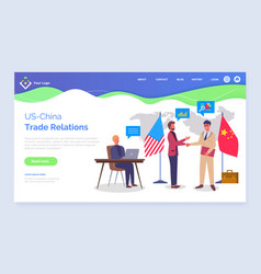Trade relations between us china collaboration vector