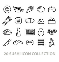 Twenty sushi icon collection vector