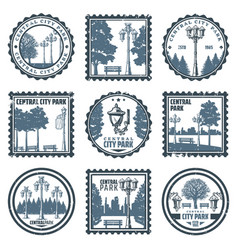 Vintage central city park emblems set vector