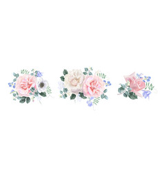 vintage floral banner set with garden rose vector image