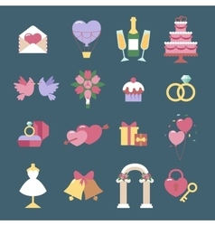 Wedding icon set isolated on blue vector image