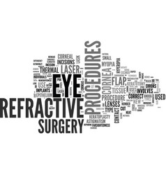 What is refractive eye surgery text word cloud vector