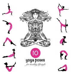 Yoga poses asanas pictograms composition poster vector