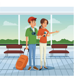 Young couple at airport vector