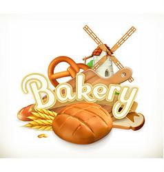 Bakery Bread 3d label vector image vector image