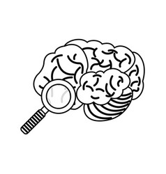 Brain search find discovery outline vector