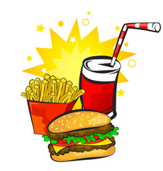 burger potatoes and drink vector image vector image