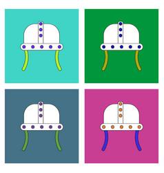 Flat icon design collection ancient helmet vector