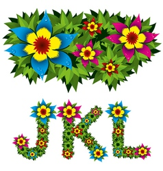 flowers alphabet 04 vector image