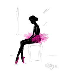 Silhouette of young ballerina vector