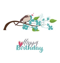 Tree branch in bloom and cute bird singing love vector image