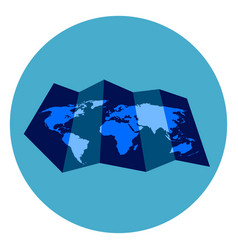 world map icon on round blue background vector image vector image