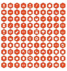 100 favorite food icons hexagon orange vector image vector image