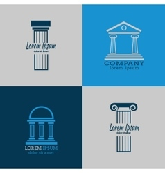 Architectural logo templates with columns vector image vector image