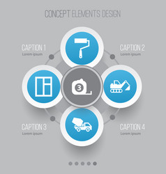 architecture icons set collection of cement vector image vector image
