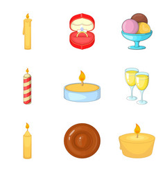 birthday candle icons set cartoon style vector image