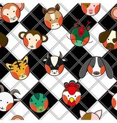 Chinese zodiac black white chess board vector