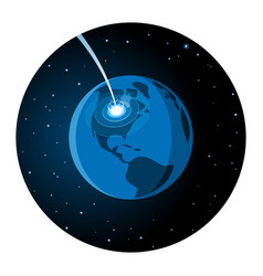 meteorite impacting earth round icon vector image