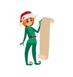 Christmas elf holding a long present list scroll vector