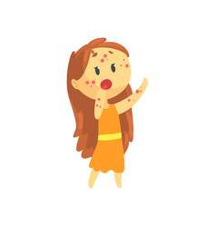 Frightened girl with long hair with rash on her vector