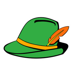 green hat with feather icon cartoon vector image