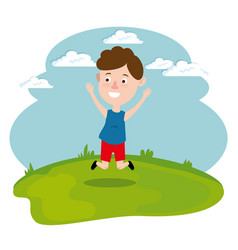 happy boy running in the field vector image