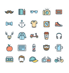 hipster icon color thin line set vector image vector image