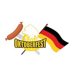 Beer mug and flag of Germany - symbol Oktoberfest vector image vector image
