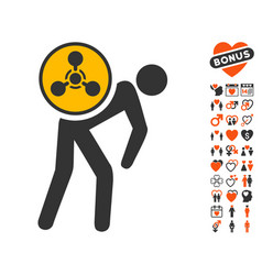 chemical courier icon with dating bonus vector image vector image