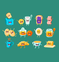 funny breakfast comic characters sett food for vector image