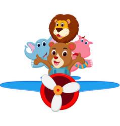 funny cartoon animals riding a plane vector image