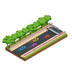 gaming speedway isometric composition vector image