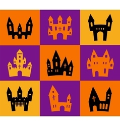 Print Halloween silhouettes vector image